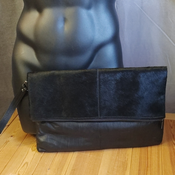 Topman Leather and pony hair clutch Black w/handle